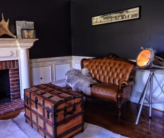 Vintage leather tufted sofa